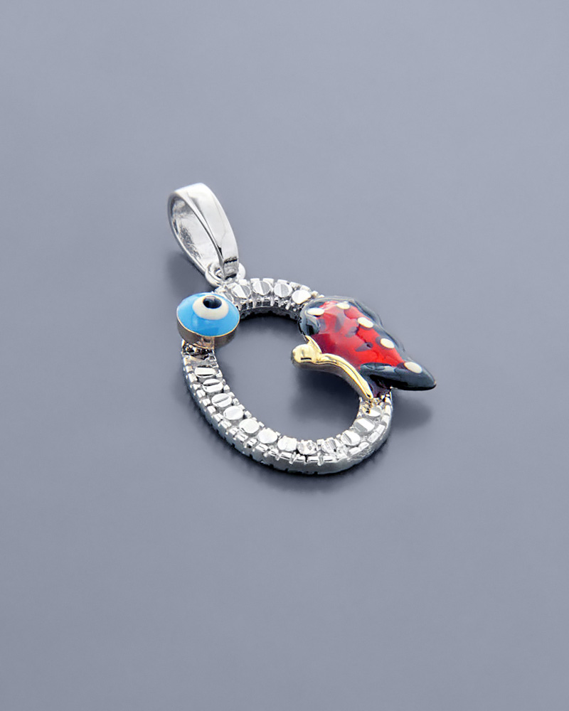 Κρεμαστό λευκόχρυσο Κ14 με Σμάλτο & Ζιργκόν   κοσμηματα κρεμαστά κολιέ κρεμαστά κολιέ λευκόχρυσα