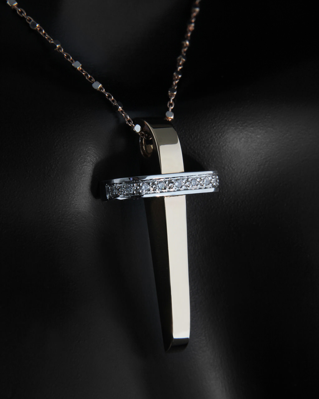 Σταυρός ροζ χρυσός & λευκόχρυσο Κ18 με Διαμάντια   παιδι βαπτιστικοί σταυροί βαπτιστικοί σταυροί για κορίτσι