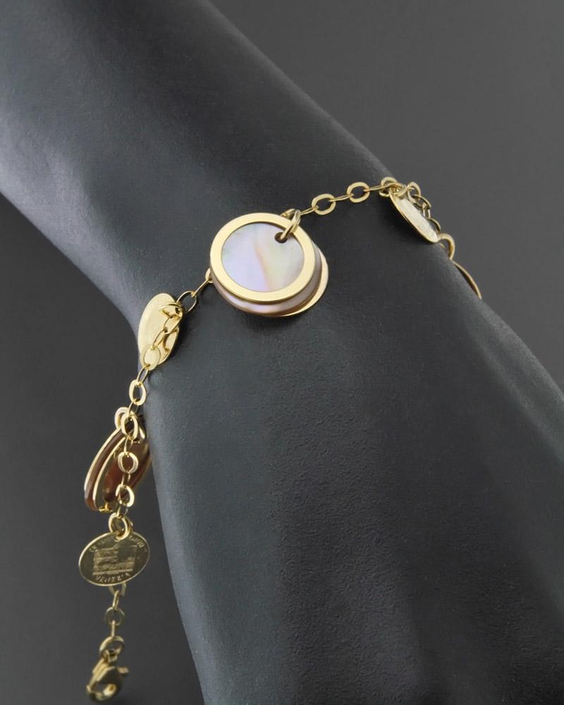 Βραχιόλι χρυσό Κ14 με Φίλντισι   γαμοσ δώρα κουμπάρου κουμπαρα