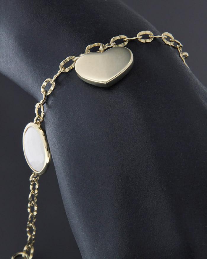 Βραχιόλι χρυσό Κ14 με Όνυχα   γυναικα κοσμήματα με καρδιές