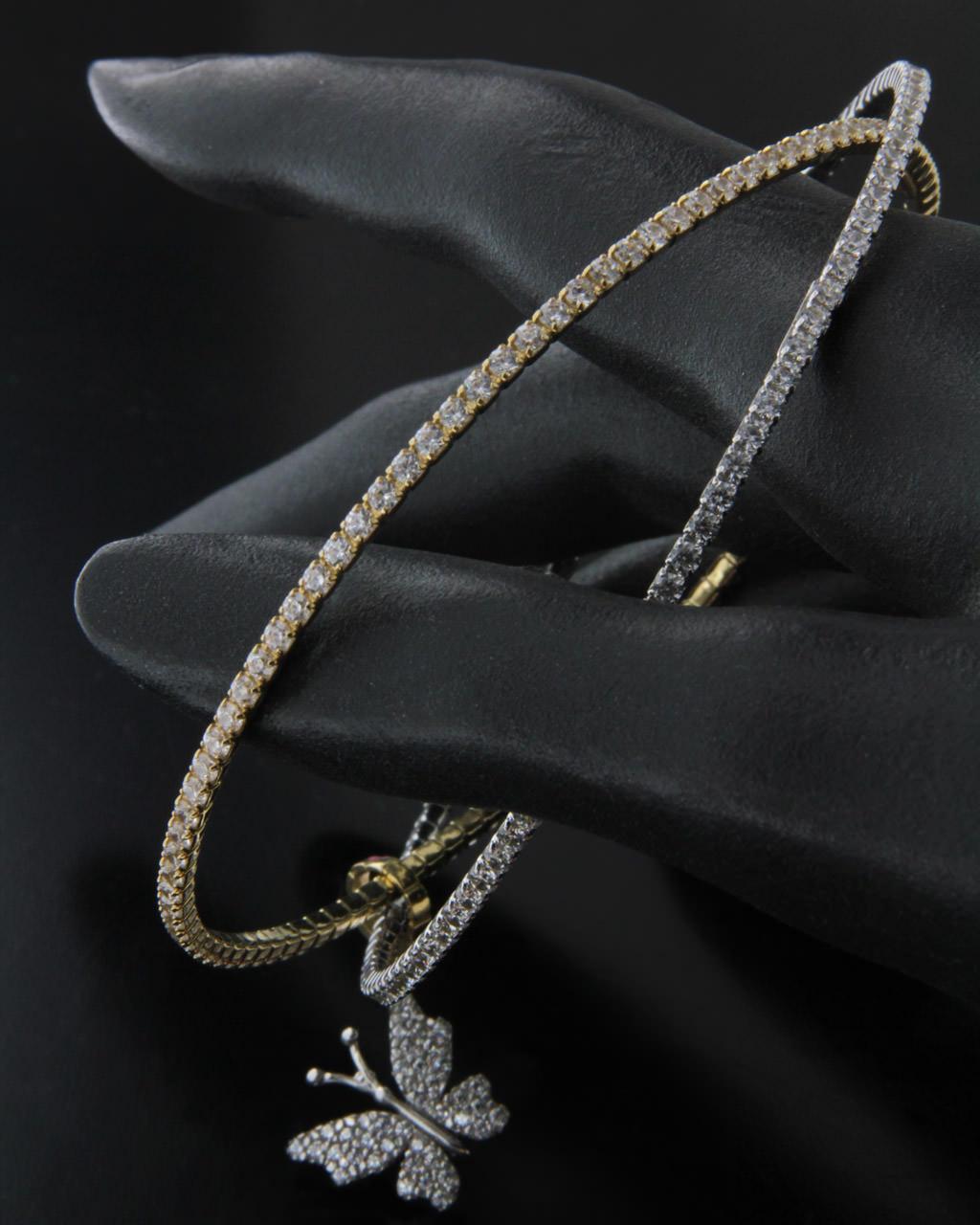 Βραχιόλι χρυσό & λευκόχρυσο Κ14 με Ζιργκόν   γυναικα βραχιόλια βραχιόλια λευκόχρυσα