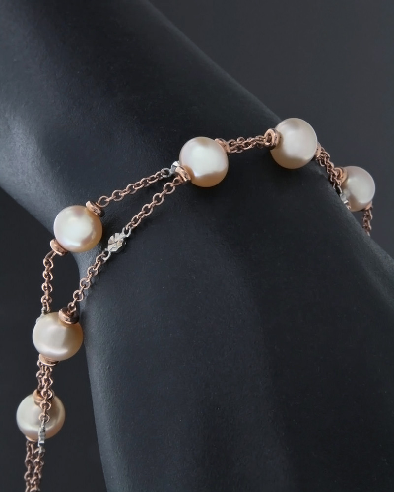 Βραχιόλι ροζ χρυσό & λευκόχρυσο Κ14 με Μαργαριτάρια   γυναικα βραχιόλια βραχιόλια ημιπολύτιμοι λίθοι