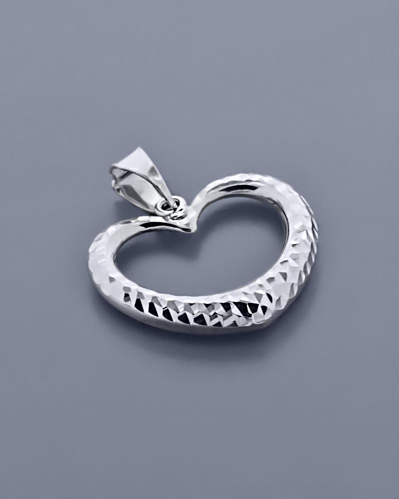 Μενταγιόν καρδιά λευκόχρυσο Κ14   κοσμηματα κρεμαστά κολιέ κρεμαστά κολιέ λευκόχρυσα