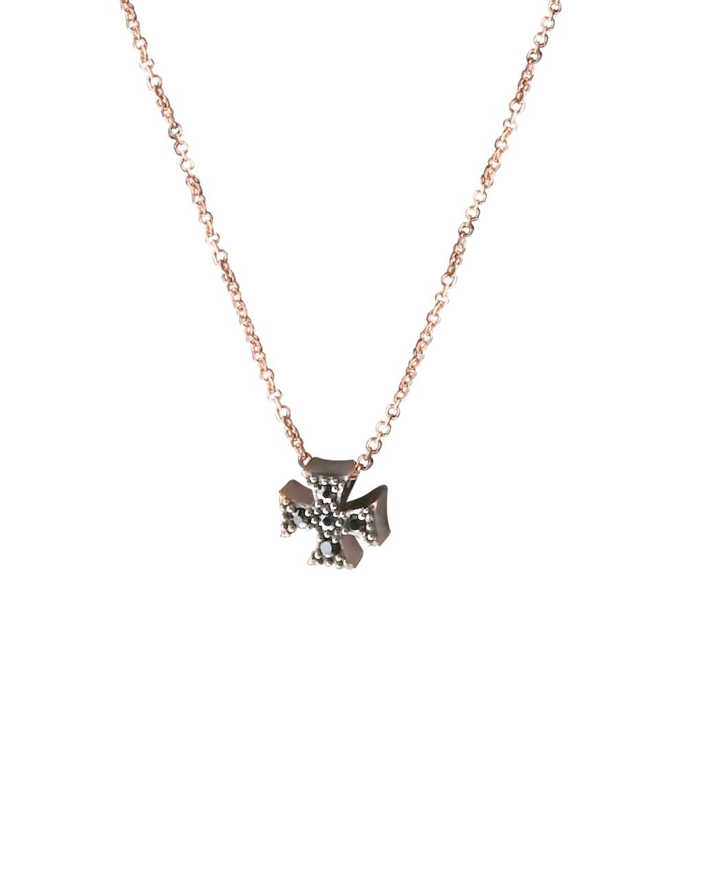Κολιέ σταυρός ροζ χρυσό Κ14 με Ζιργκόν   κοσμηματα κρεμαστά κολιέ κρεμαστά κολιέ ροζ χρυσό