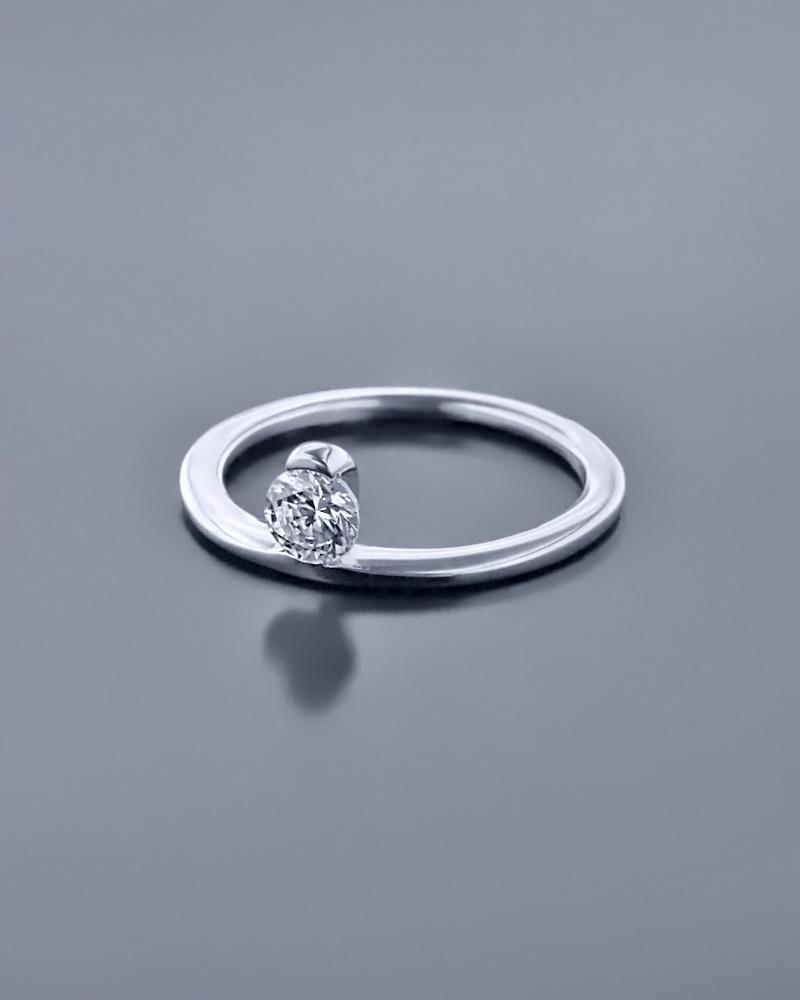 Μονόπετρο δαχτυλίδι λευκόχρυσο Κ14 με Ζιργκόν   γαμοσ μονόπετρα μονοπετρα με ζιργκόν