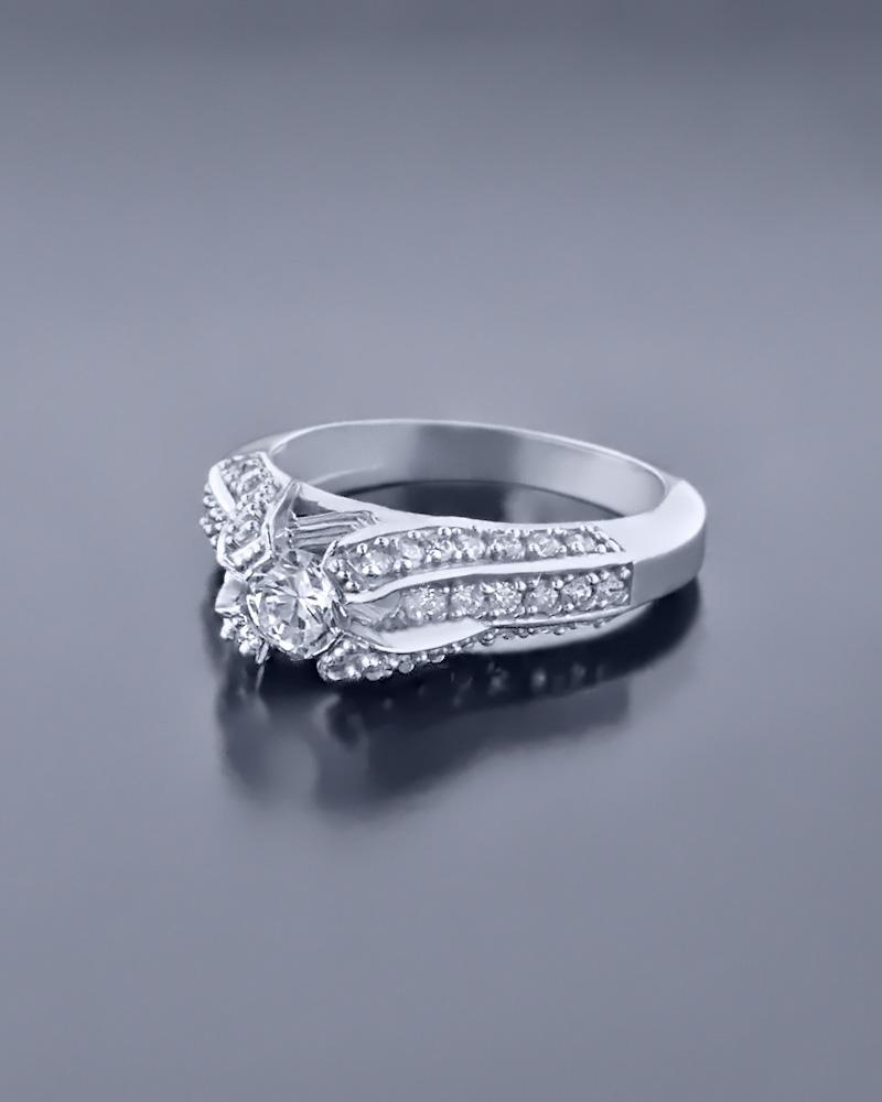 Δαχτυλίδι μονόπετρο λευκόχρυσο Κ14 με Ζιργκόν   ζησε το μυθο μονόπετρα μονοπετρα με ζιργκόν