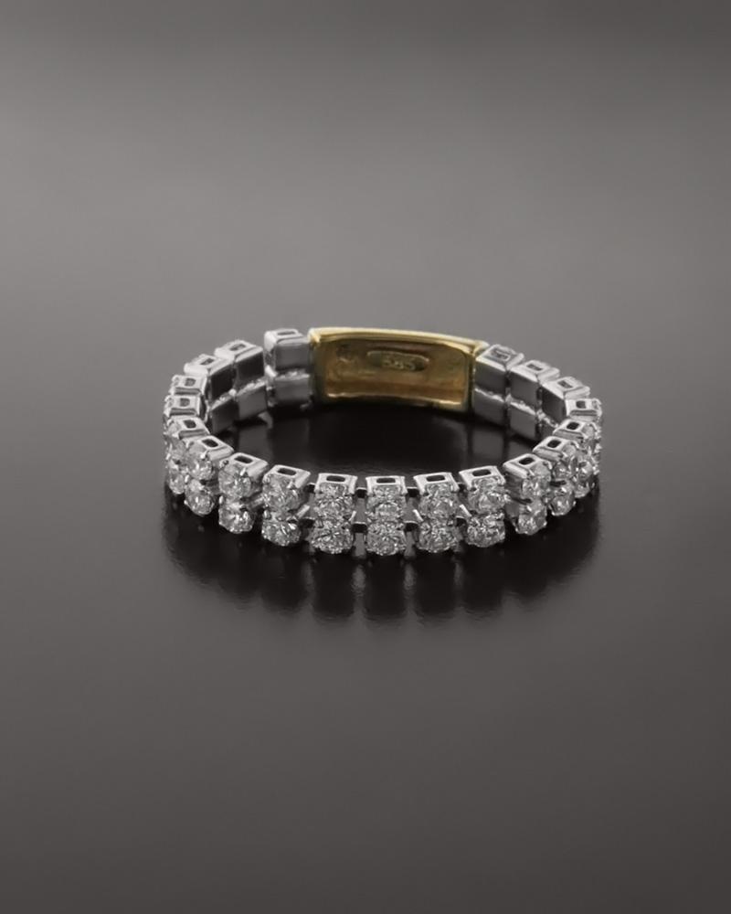 Δαχτυλίδι 14Κ χρυσό & λευκόχρυσο με Ζιργκόν   κοσμηματα δαχτυλίδια δαχτυλίδια σειρέ
