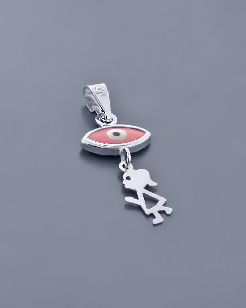 Ματάκι λευκόχρυσο Κ9 με Κοράλι   γυναικα κοσμήματα με ματάκι