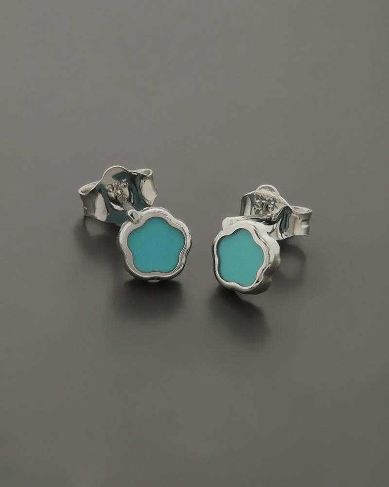 Παιδικά σκουλαρίκια λευκόχρυσα Κ9 με Τυρκουάζ   νεεσ αφιξεισ κοσμήματα παιδικά
