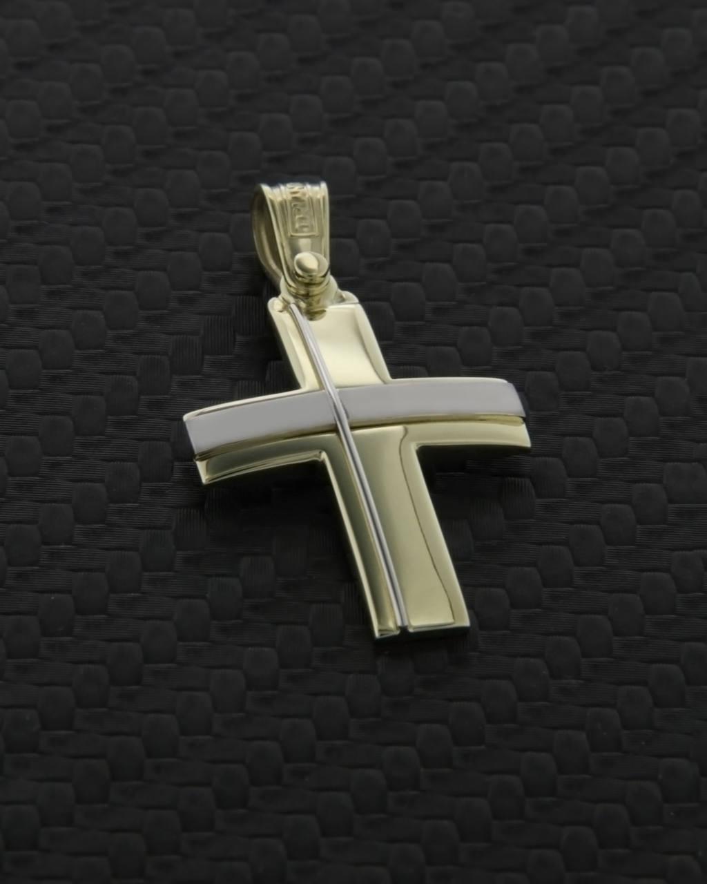 """Σταυρός """"Τριάντος"""" χρυσός & λευκόχρυσος Κ14   παιδι βαπτιστικοί σταυροί βαπτιστικοί σταυροί για αγόρι"""