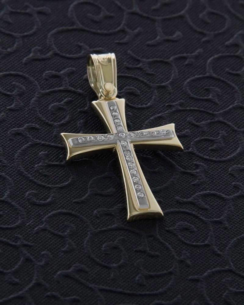 Σταυρός από χρυσό Κ14 με Ζιργκόν   γυναικα σταυροί σταυροί χρυσοί