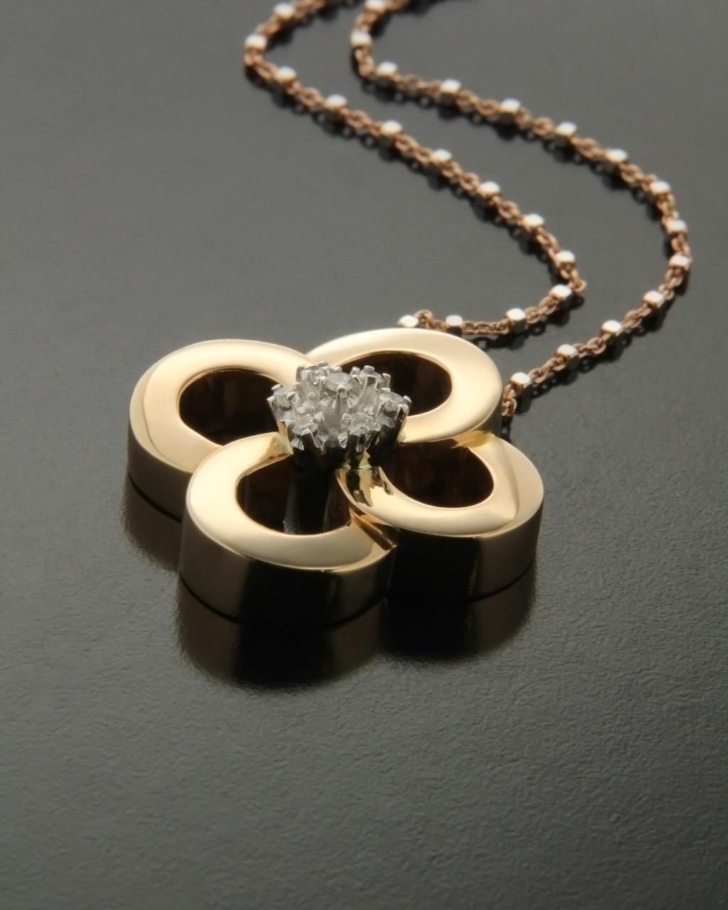 Σταυρός ροζ χρυσός και λευκόχρυσος Κ18 με Διαμάντια