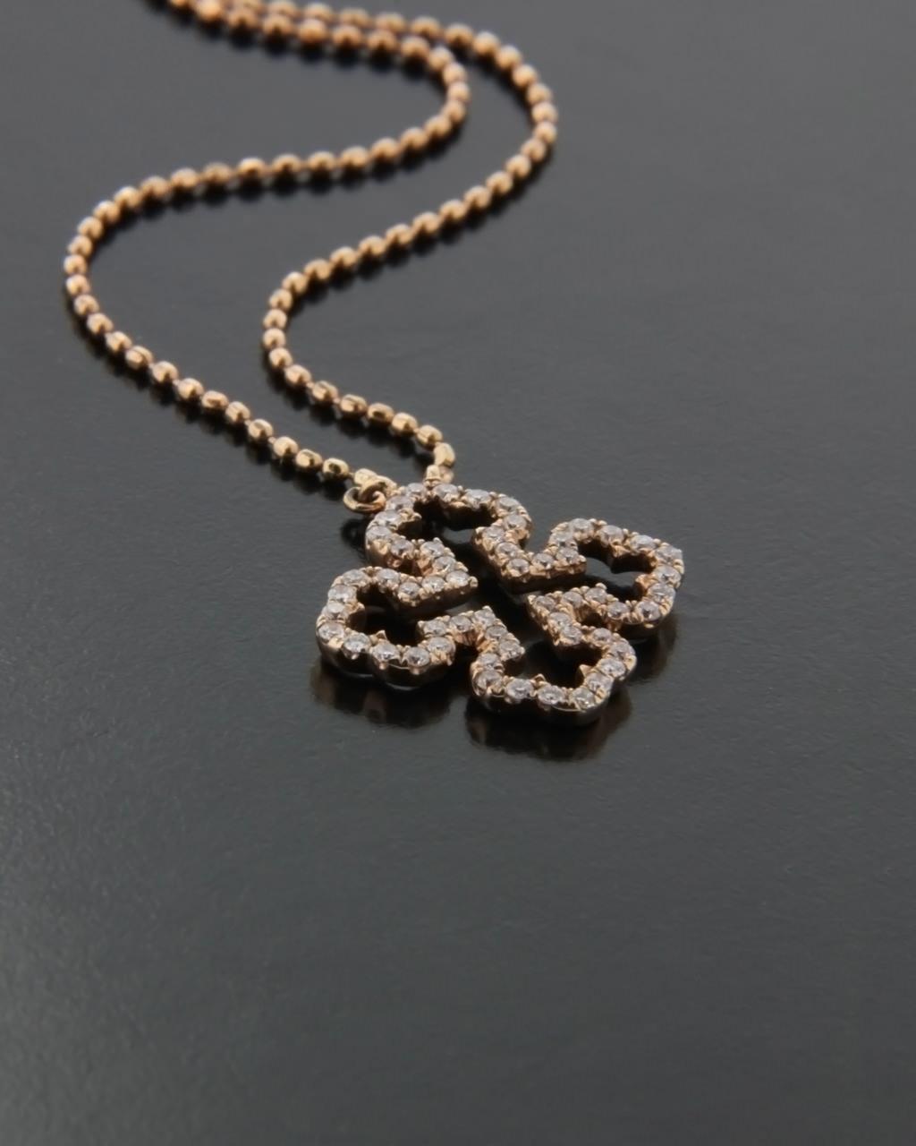 Κολιέ σταυρός ροζ χρυσό Κ18 με Διαμάντια   κοσμηματα σταυροί με αλυσίδα
