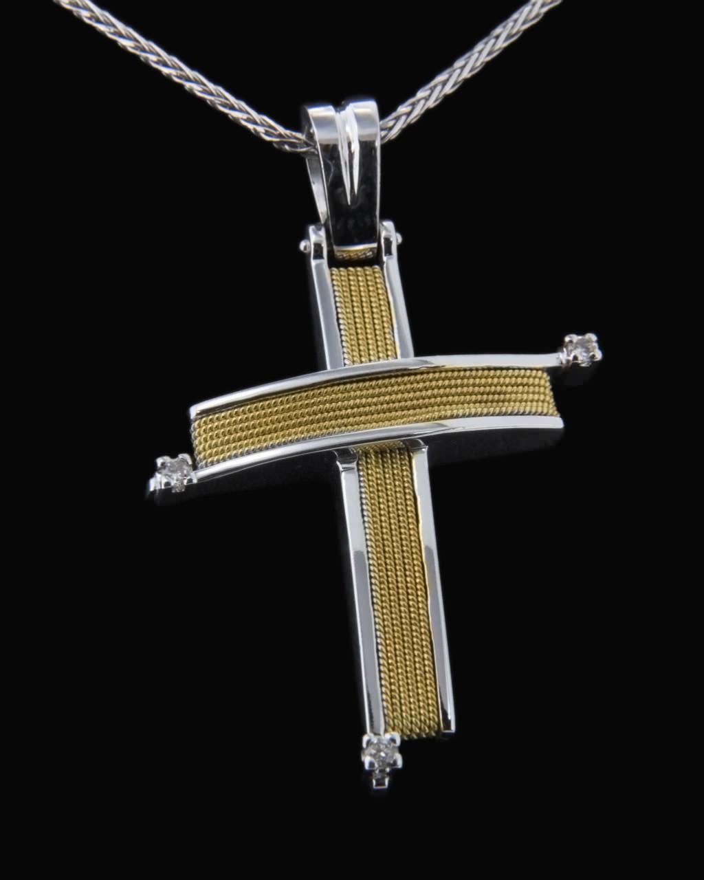 Σταυρός χρυσός & λευκόχρυσος Κ18 με Διαμάντια   νεεσ αφιξεισ κοσμήματα γυναικεία