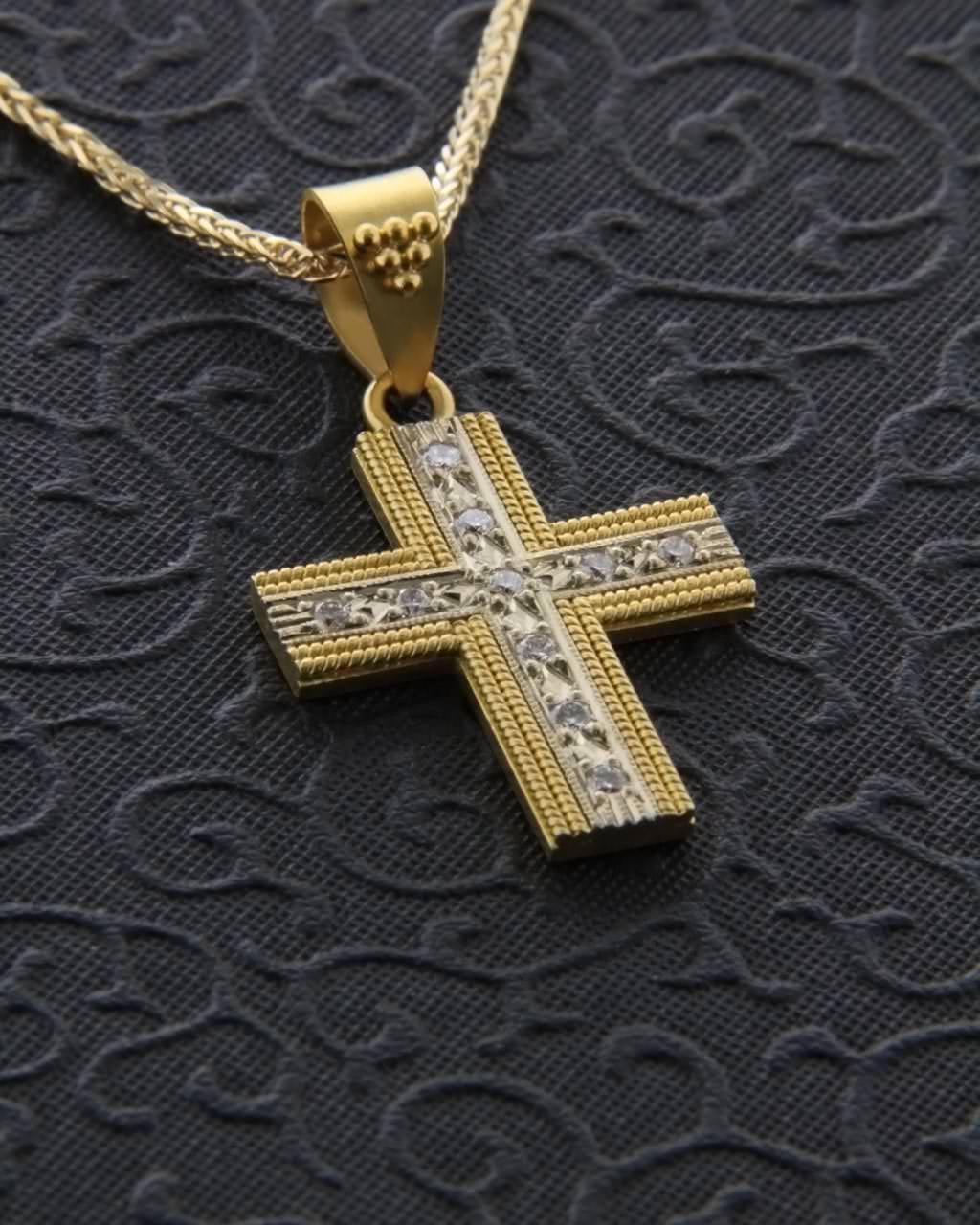 Χειροποίητος σταυρός χρυσός Κ22 με Διαμάντια   νεεσ αφιξεισ κοσμήματα γυναικεία