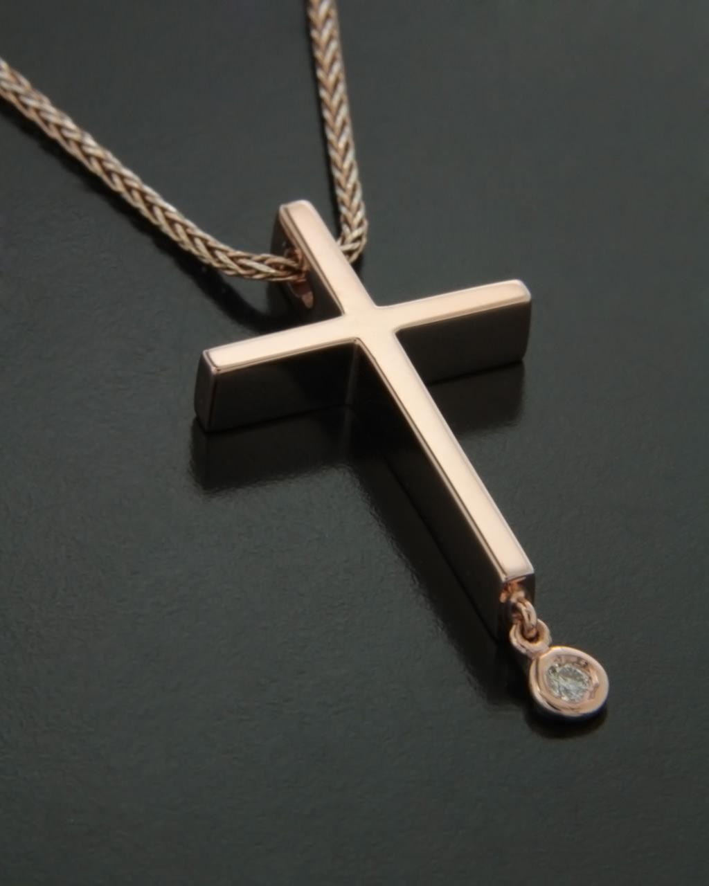 Σταυρός ροζ χρυσός Κ14 με Διαμάντια   νεεσ αφιξεισ κοσμήματα γυναικεία