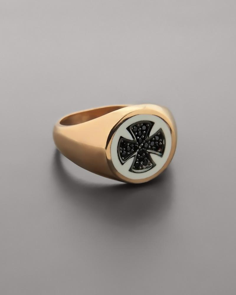 Chevalier δαχτυλίδι ροζ χρυσό Κ9 με Σμάλτο & Zιργκόν   κοσμηματα δαχτυλίδια δαχτυλίδια chevalier