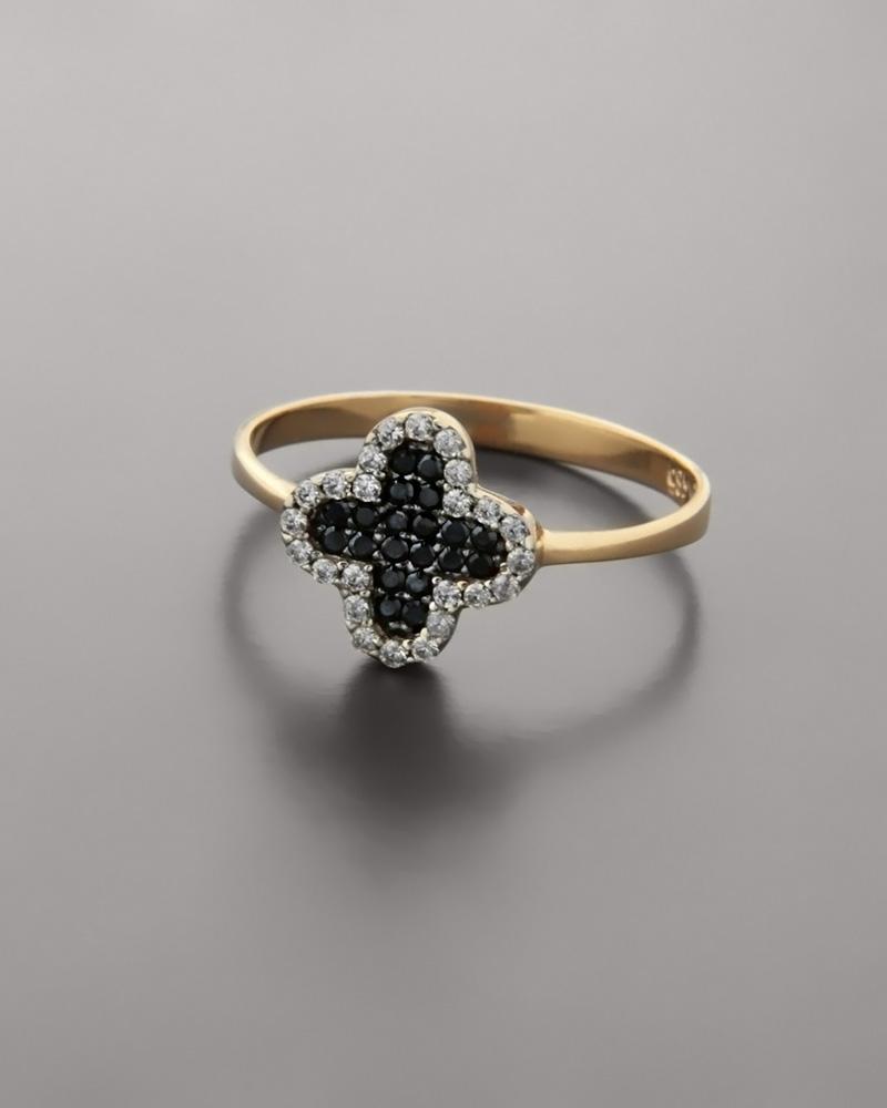 Δαχτυλίδι σταυρός ροζ χρυσό Κ14 με Ζιργκόν   γυναικα δαχτυλίδια δαχτυλίδια ροζ χρυσό