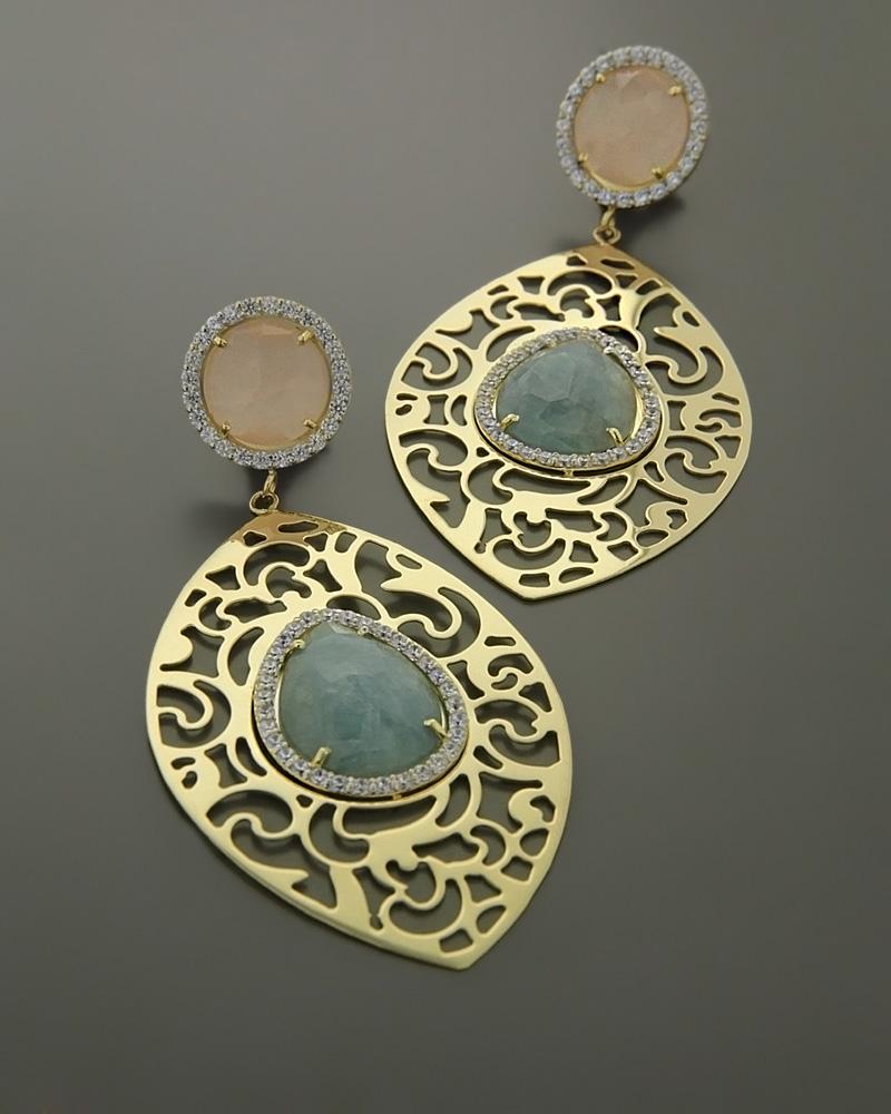 Σκουλαρίκια χρυσά Κ14 με Ζιργκόν & Quartz   γυναικα σκουλαρίκια σκουλαρίκια ημιπολύτιμοι λίθοι