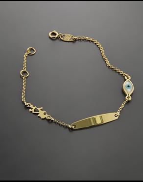 Βραχιόλι-ταυτότητα παιδική από χρυσό Κ9 με ματάκι 0380c6b2992