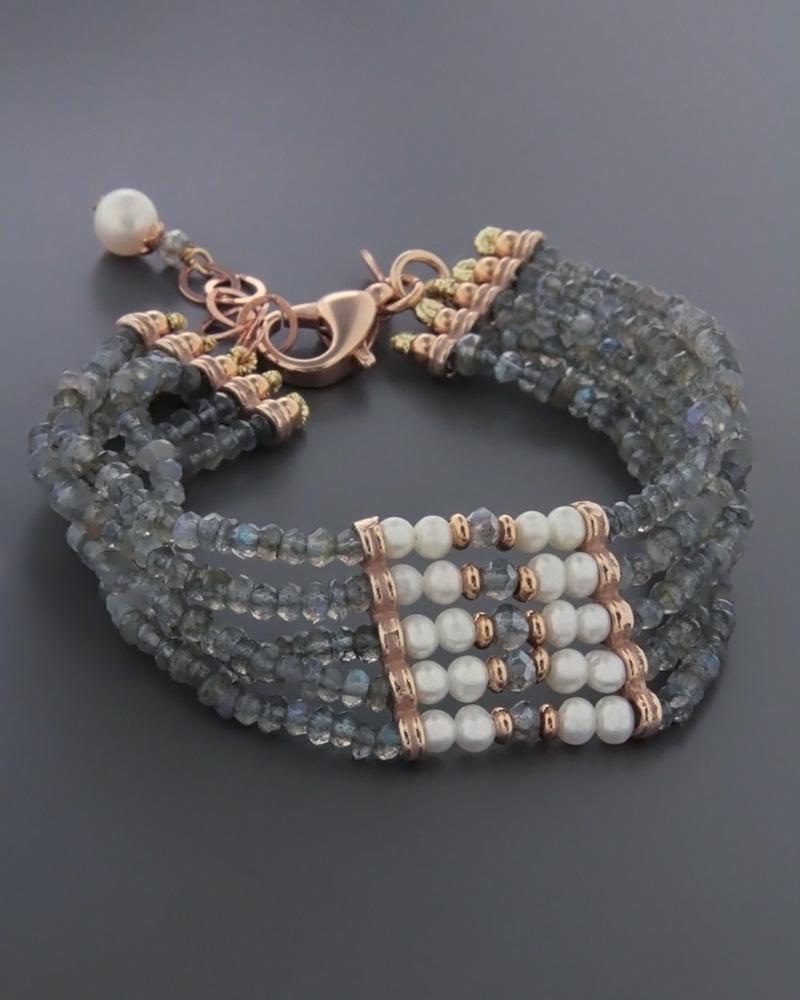 Βραχιόλι με Μαργαριτάρια & Ορυκτές πέτρες από ασήμι   γυναικα βραχιόλια βραχιόλια ημιπολύτιμοι λίθοι