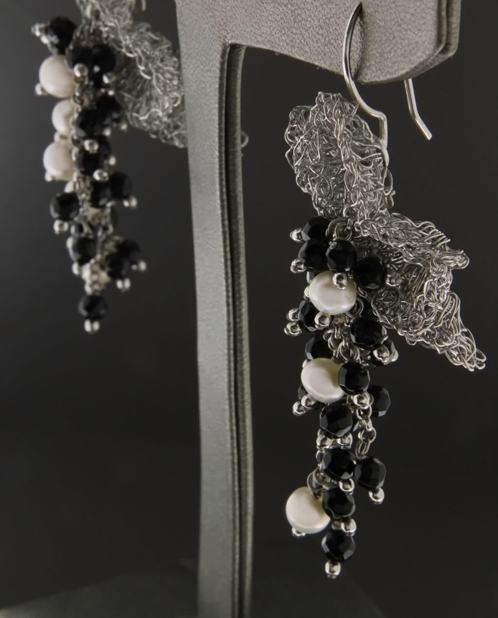 Σκουλαρίκια ασημένια με Μαργαριτάρια & Όνυχα   γυναικα σκουλαρίκια σκουλαρίκια ασημένια