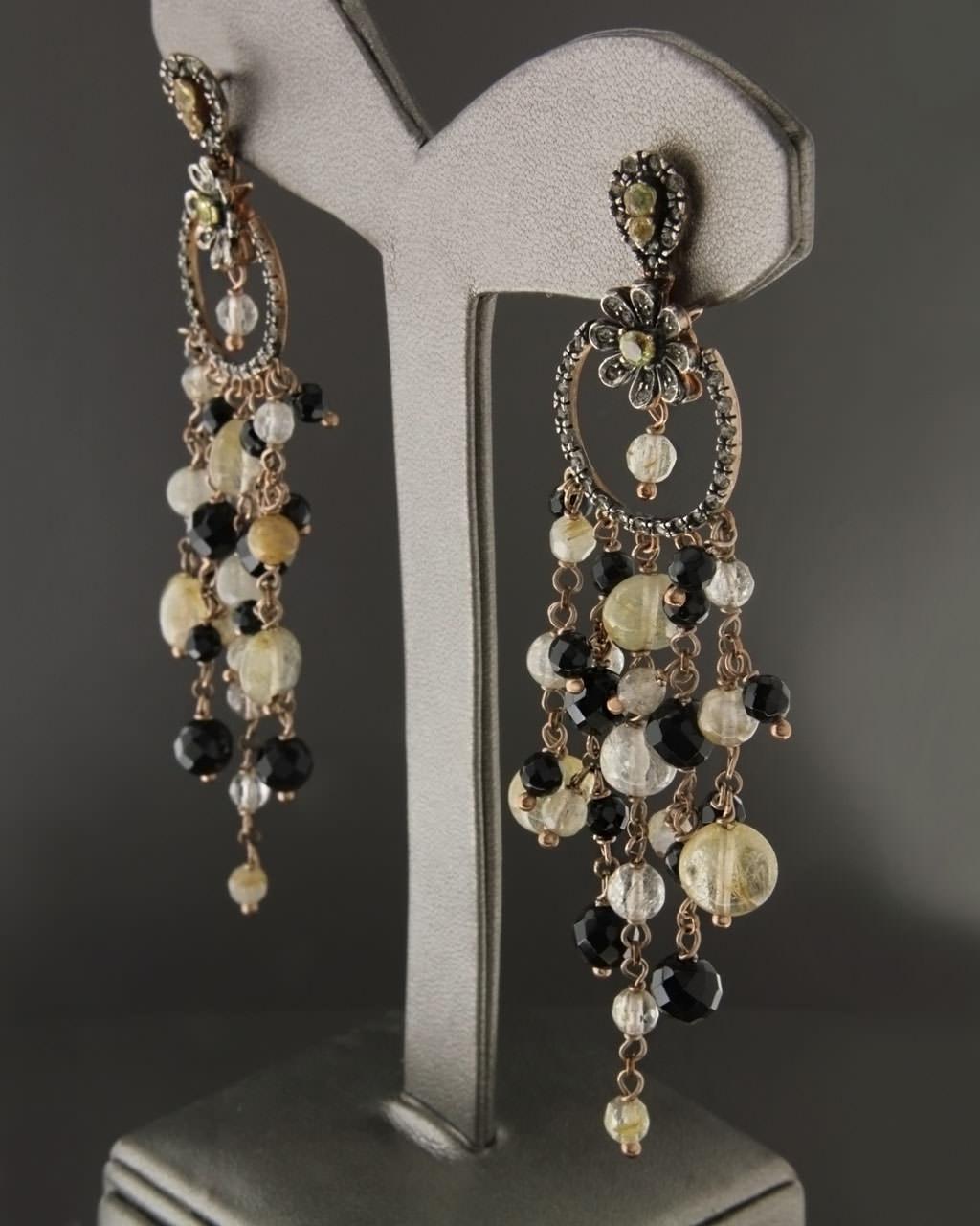 Σκουλαρίκια ασημένια με Τοπάζι & Όνυχα   γυναικα σκουλαρίκια σκουλαρίκια ασημένια