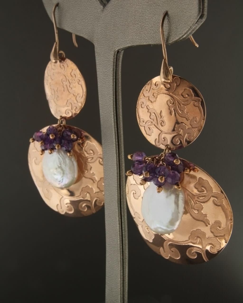 Σκουλαρίκια ασημένια με Μαργαριτάρια & Αμέθυστο   γυναικα σκουλαρίκια σκουλαρίκια ασημένια