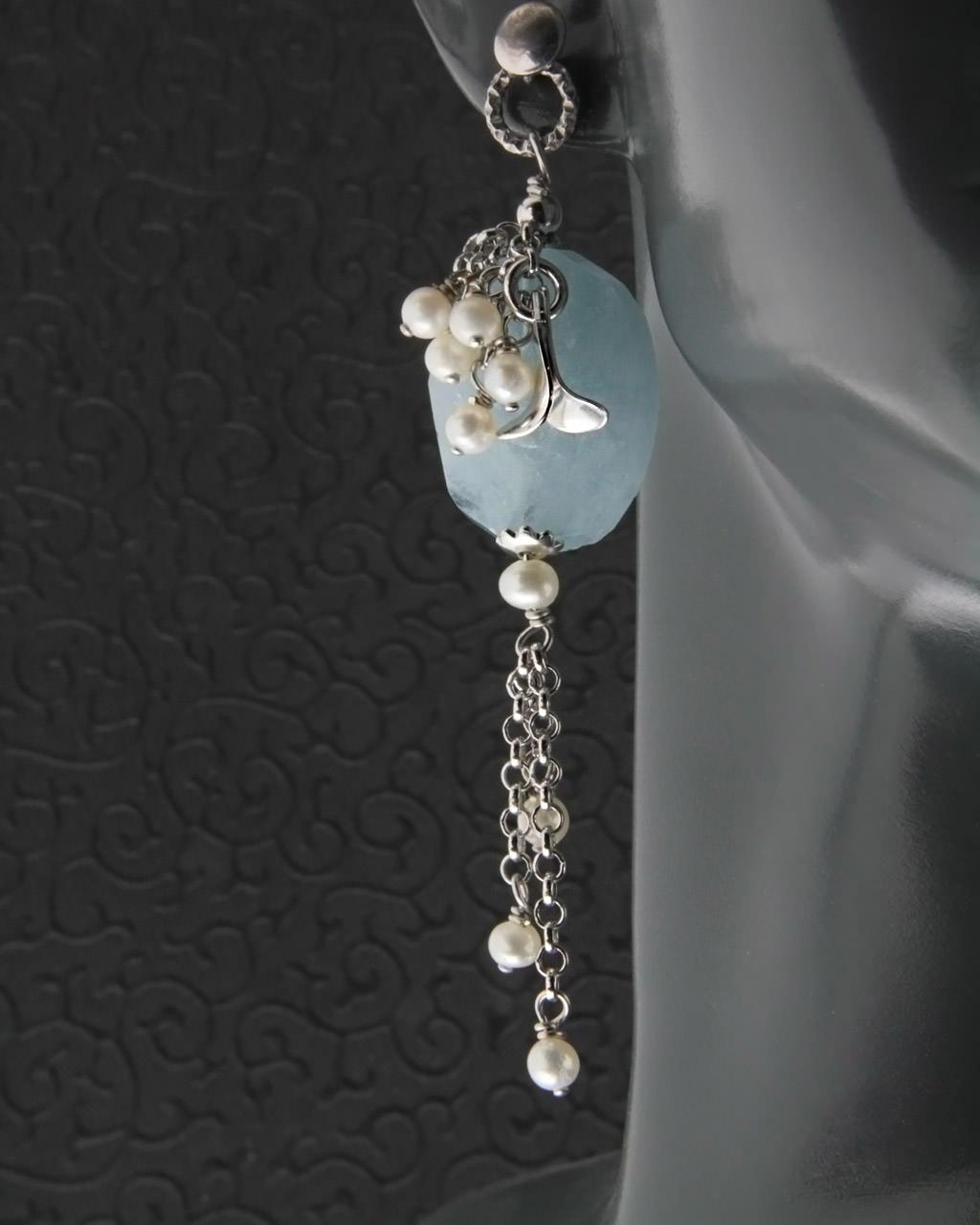 Σκουλαρίκια ασημένια με Μαργαριτάρια & Blueberry   γυναικα σκουλαρίκια σκουλαρίκια ασημένια