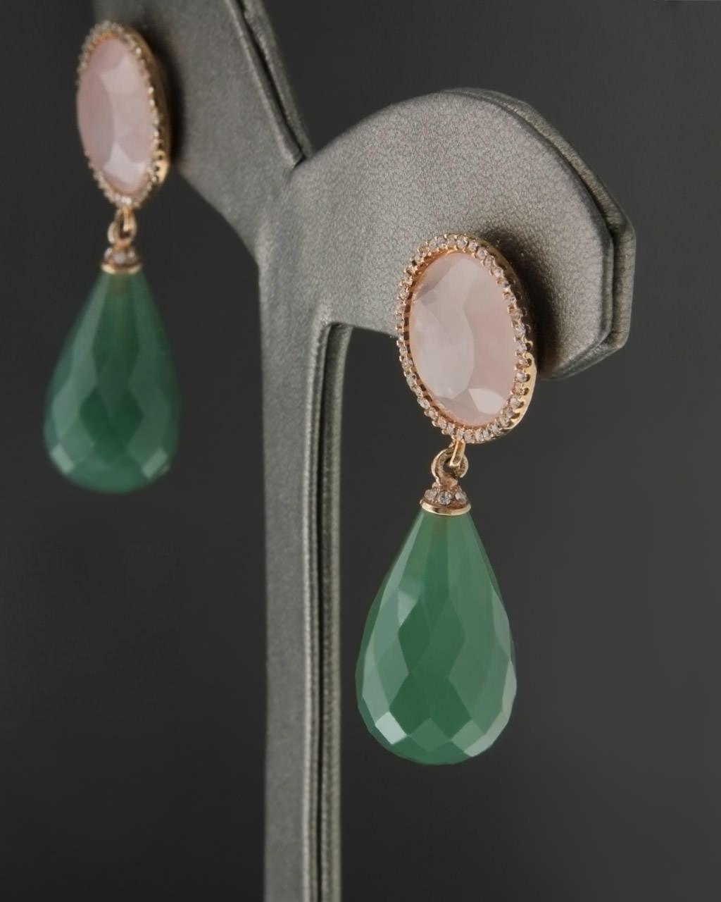 Σκουλαρίκια ασημένια με Quartz & Αβεντουρίνη   γυναικα σκουλαρίκια σκουλαρίκια ημιπολύτιμοι λίθοι