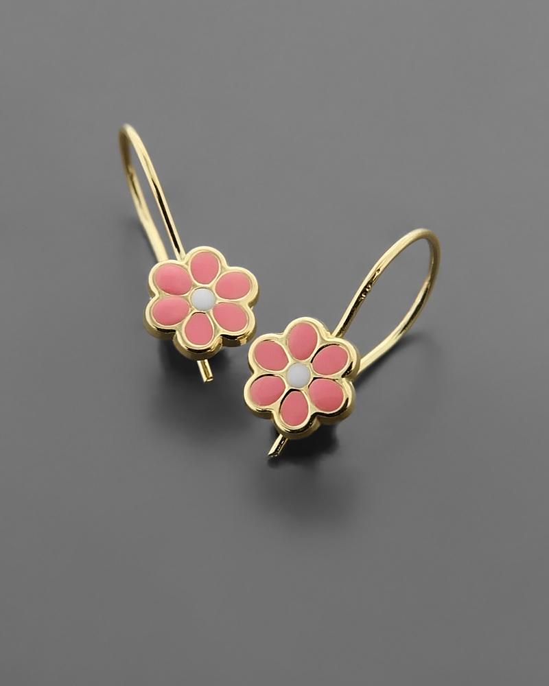 Παιδικά σκουλαρίκια χρυσά Κ9 με Σμάλτο   νεεσ αφιξεισ κοσμήματα παιδικά