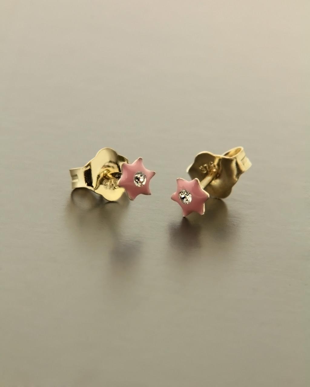 Σκουλαρίκια παιδικά χρυσά Κ9 με Σμάλτο & Ζιργκόν   νεεσ αφιξεισ κοσμήματα παιδικά