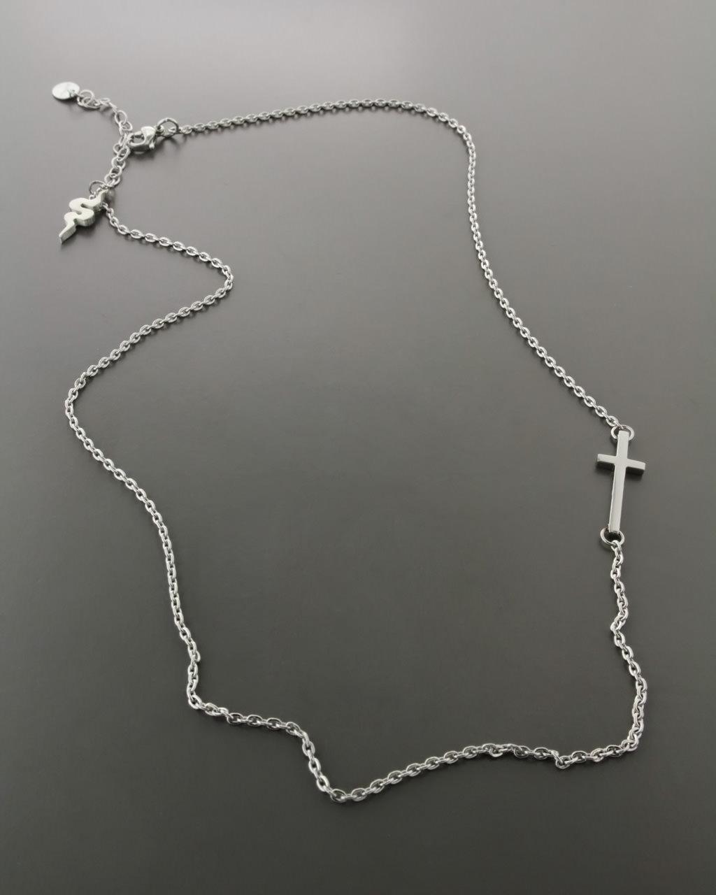 Ατσάλινο κολιέ με σταυρό & φίδι   γυναικα κρεμαστά κολιέ κρεμαστά κολιέ fashion