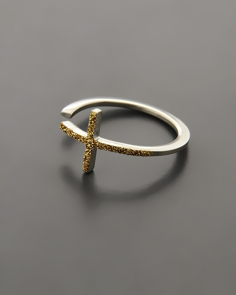 Δαχτυλίδι σταυρός ατσάλινο με Drusy Stones   κοσμηματα δαχτυλίδια δαχτυλίδια fashion