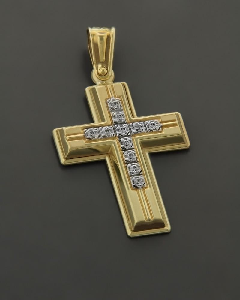 Σταυρός χρυσός ματ Κ14 με Ζιργκόν   γυναικα σταυροί σταυροί χρυσοί