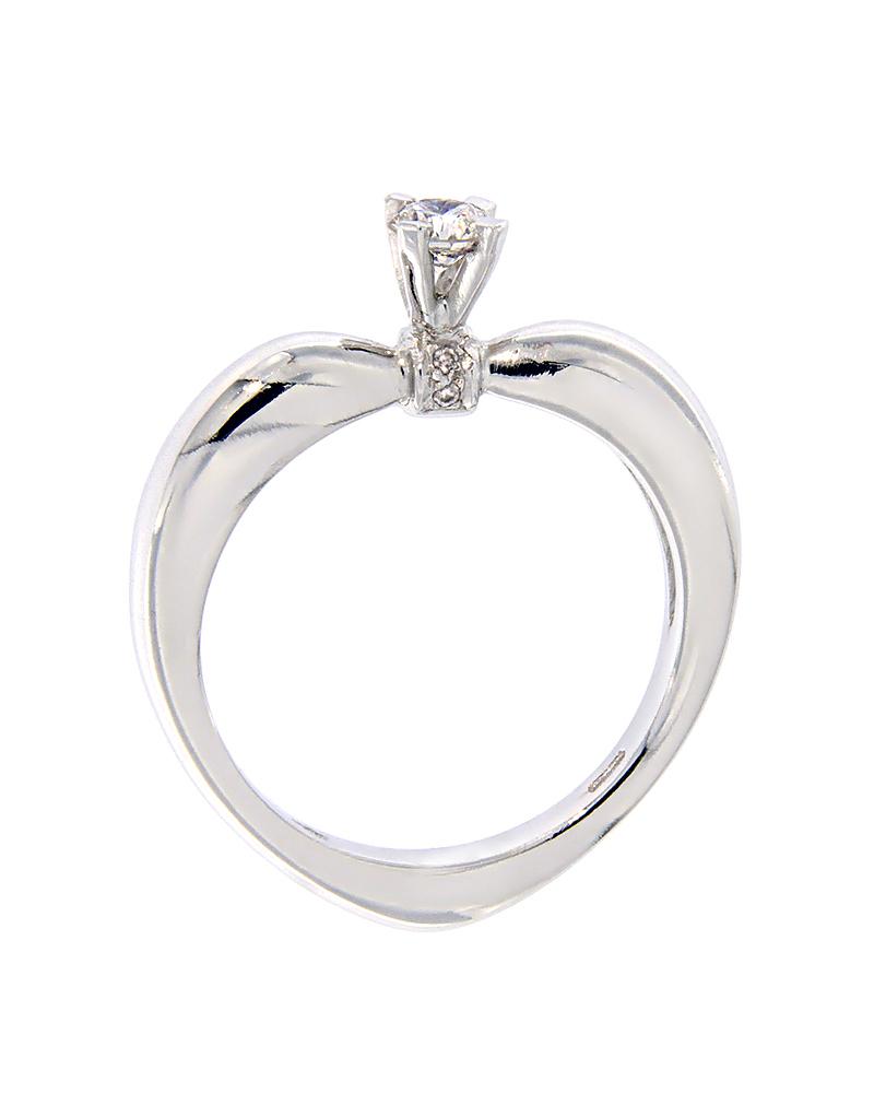 Μονόπετρο δαχτυλίδι καρδιά λευκόχρυσο Κ18 με Διαμάντια   γυναικα δαχτυλίδια μονόπετρα με διαμάντια