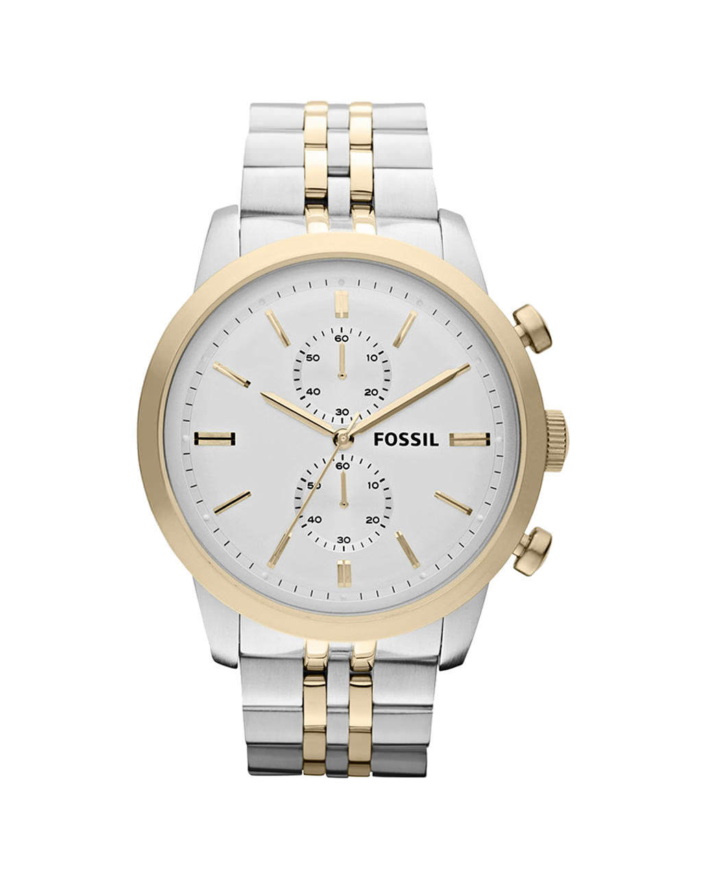 FOSSIL Townsman Chrono Silver Dial Two-Tone Steel Men FS4785   brands fossil