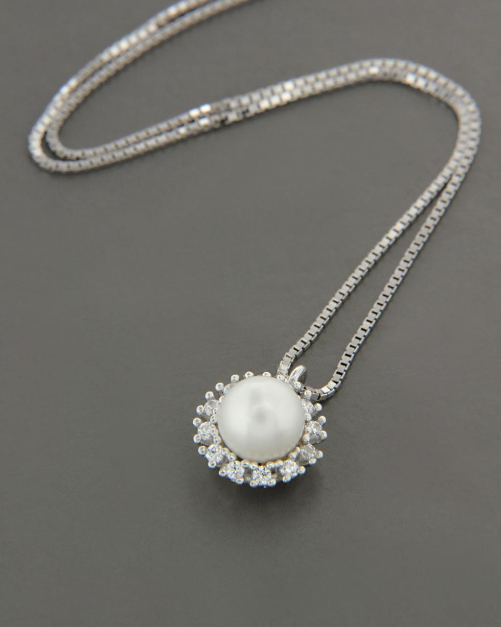 Κολιέ λευκόχρυσο Κ14 με Μαργαριτάρι & Ζιργκόν   κοσμηματα κρεμαστά κολιέ κρεμαστά κολιέ λευκόχρυσα