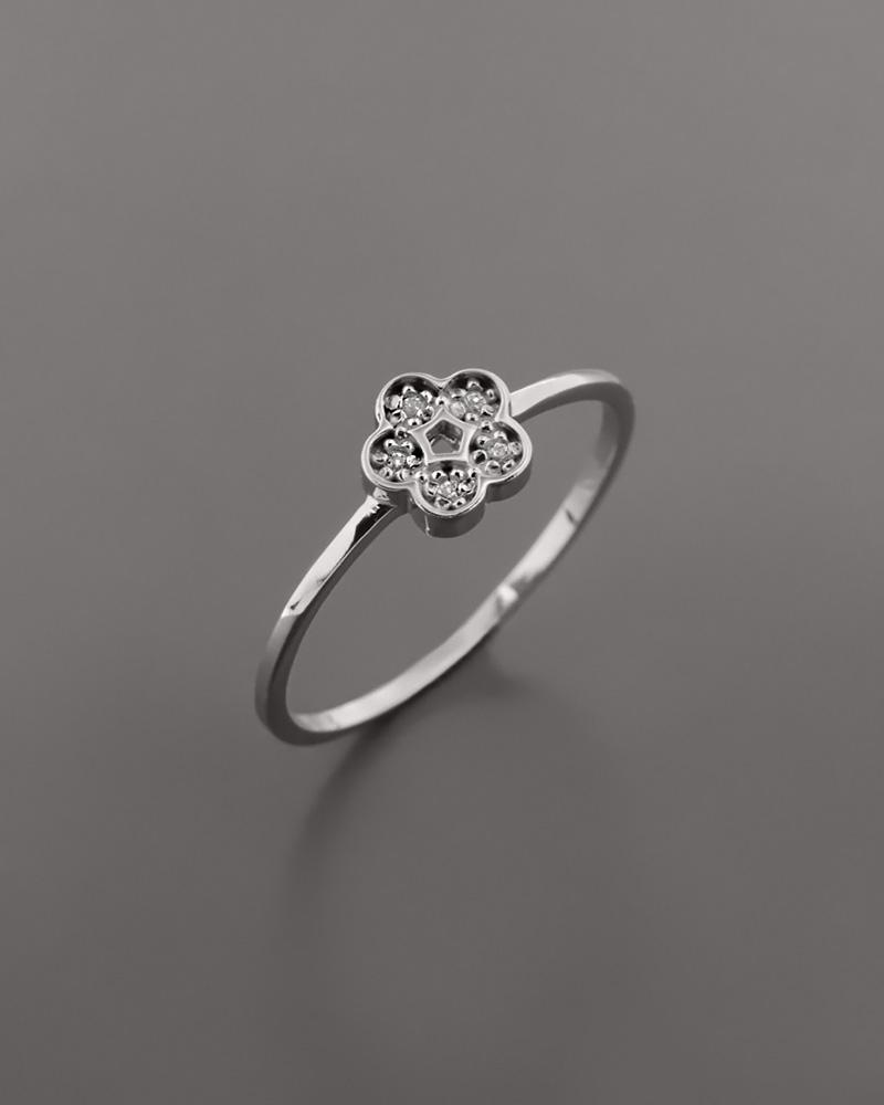 Δαχτυλίδι λουλούδι λευκόχρυσο Κ14 με Ζιργκόν   γυναικα δαχτυλίδια δαχτυλίδια λευκόχρυσα