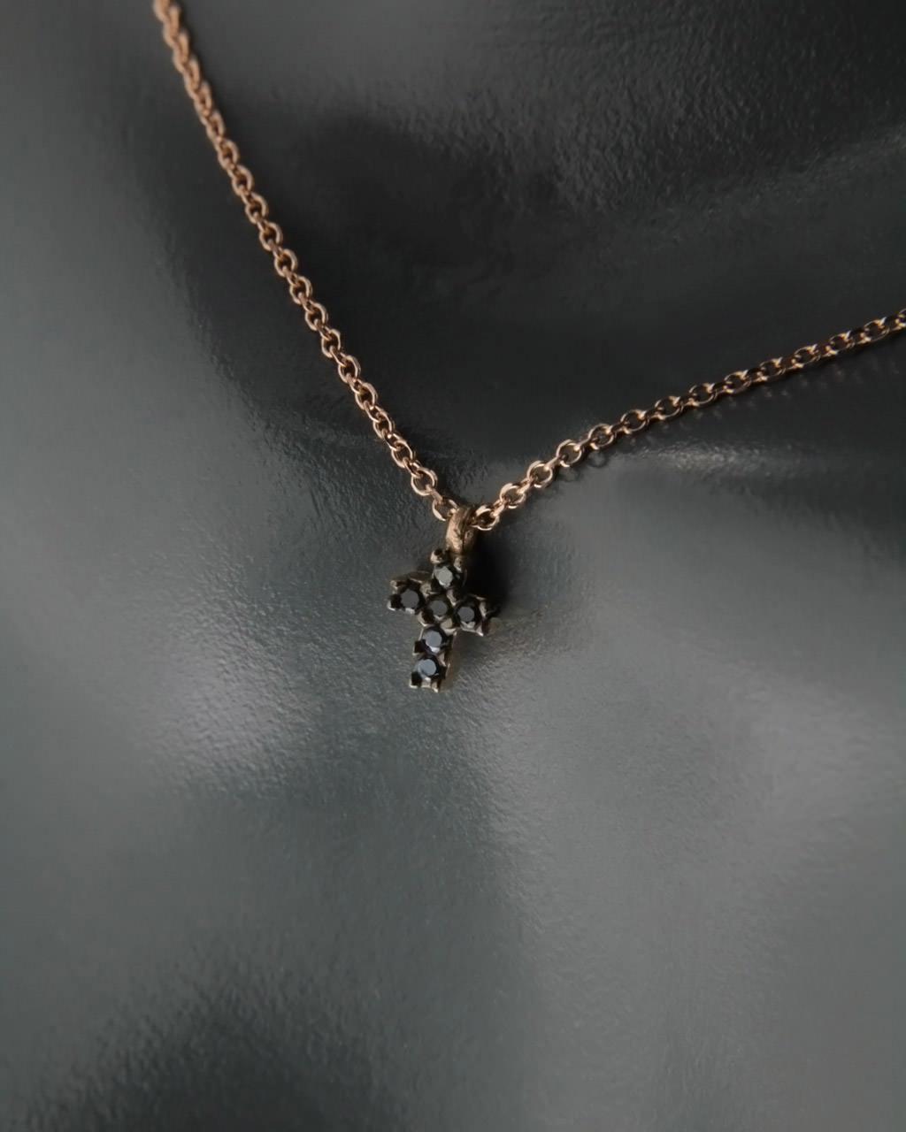 Κολιέ σταυρουδάκι ροζ χρυσό Κ14 με Ζιργκόν   γυναικα κρεμαστά κολιέ κρεμαστά κολιέ ροζ χρυσό