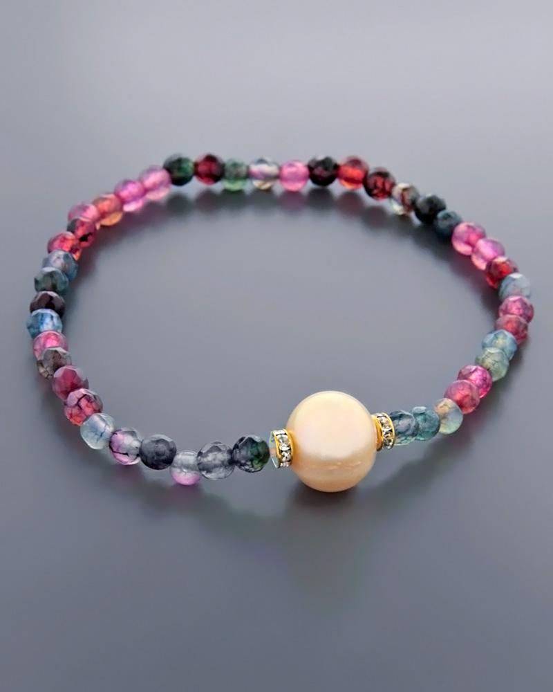 Βραχιόλι με Ορυκτές πέτρες & Μαργαριτάρι   γυναικα βραχιόλια βραχιόλια ημιπολύτιμοι λίθοι