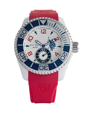 Ρολόι U.S. POLO Red Rubber Strap White Dial USP4153RD