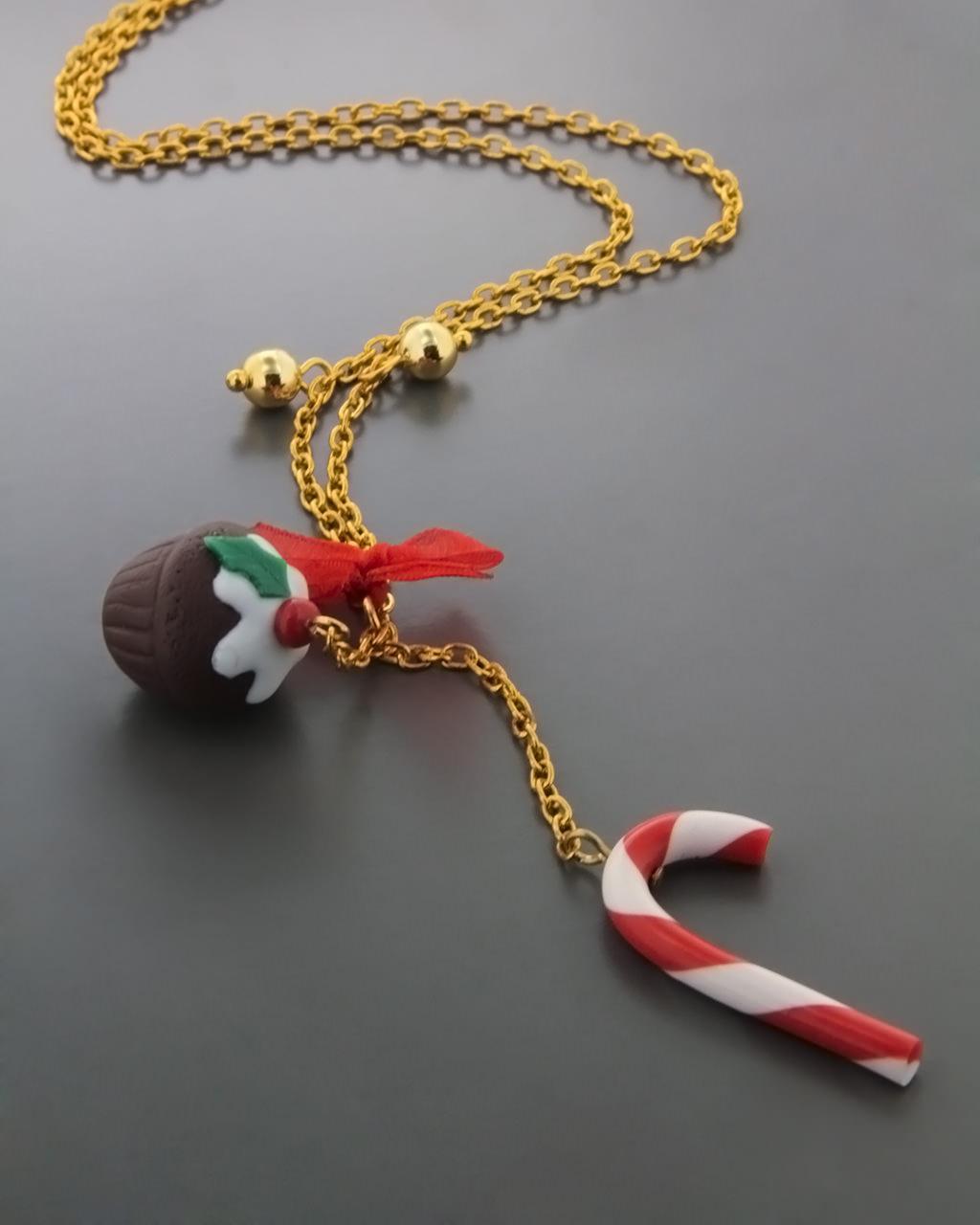 Χειροποίητο κολιέ γούρι από πηλό   δωρα δώρα χριστουγέννων