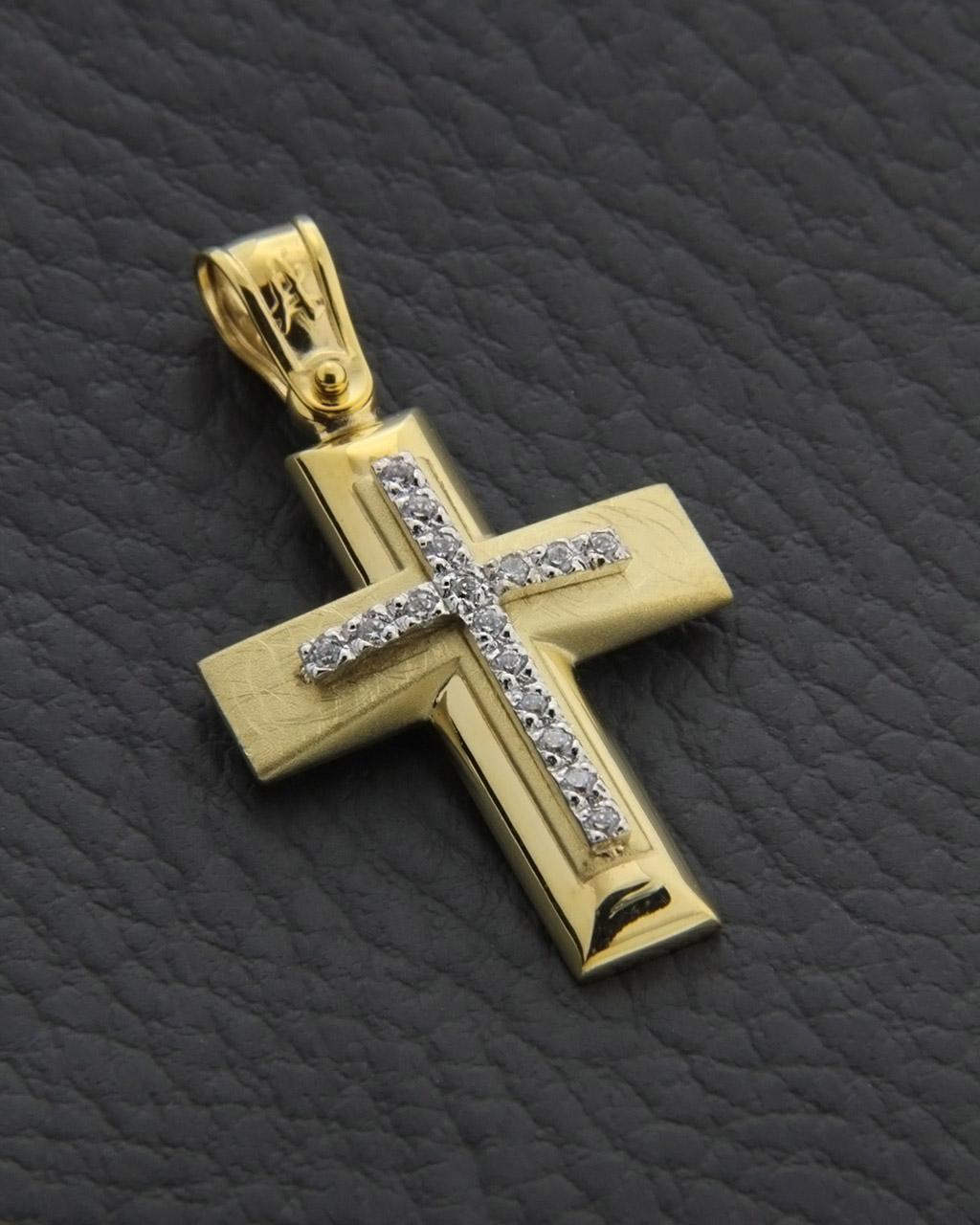 Σταυρός βάπτισης χρυσός και λευκόχρυσος Κ14 με ζιργκόν