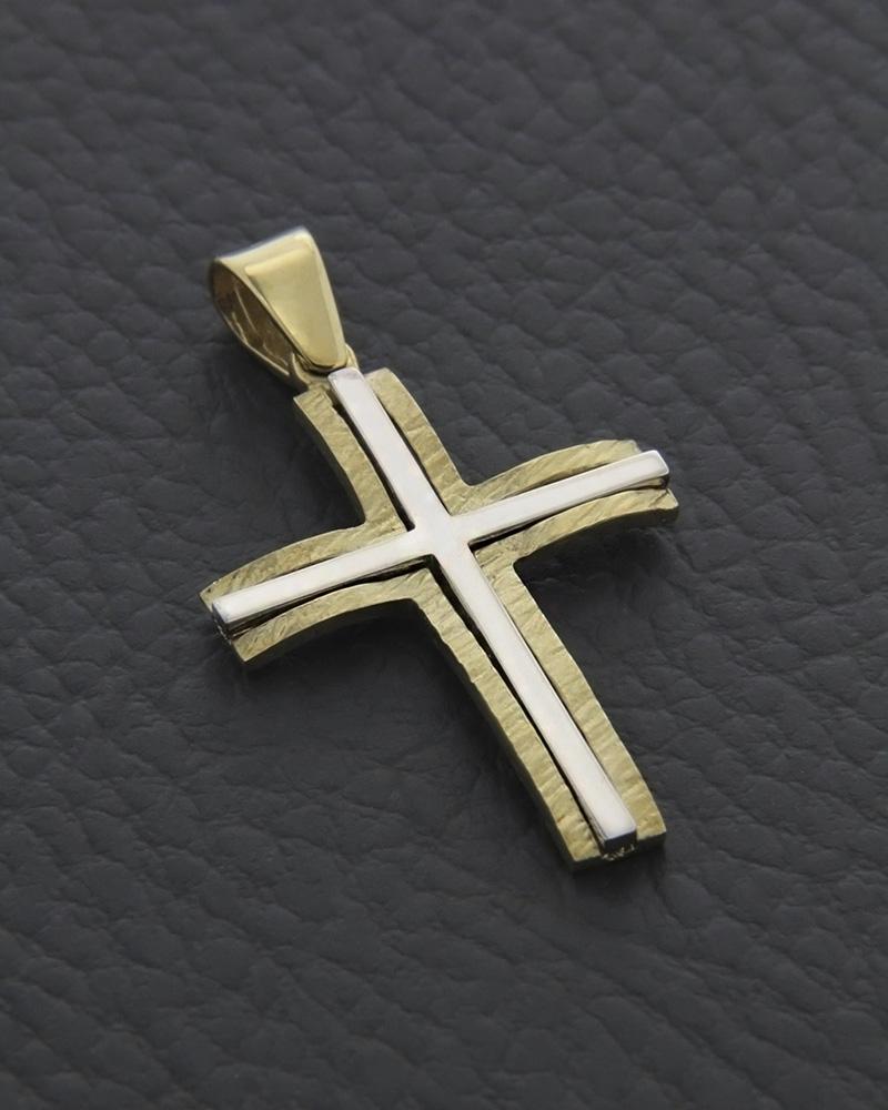 Σταυρός χρυσός & λευκόχρυσος Κ14 δύο όψεων   ανδρασ σταυροί ανδρικοί