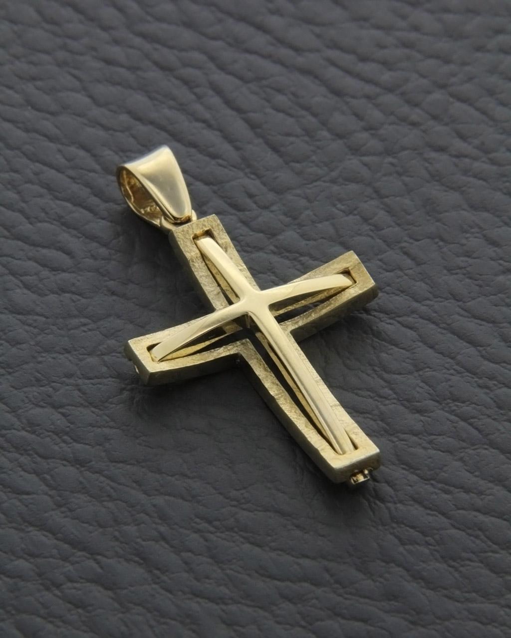 Σταυρός χρυσός Κ14 δύο όψεων   ανδρασ σταυροί ανδρικοί