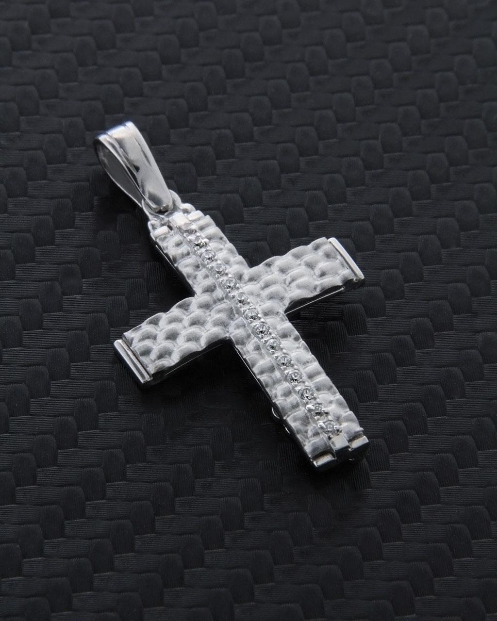 Σταυρός βάπτισης λευκόχρυσος Κ14 με Ζιργκόν δύο όψεων   παιδι βαπτιστικοί σταυροί βαπτιστικοί σταυροί για κορίτσι