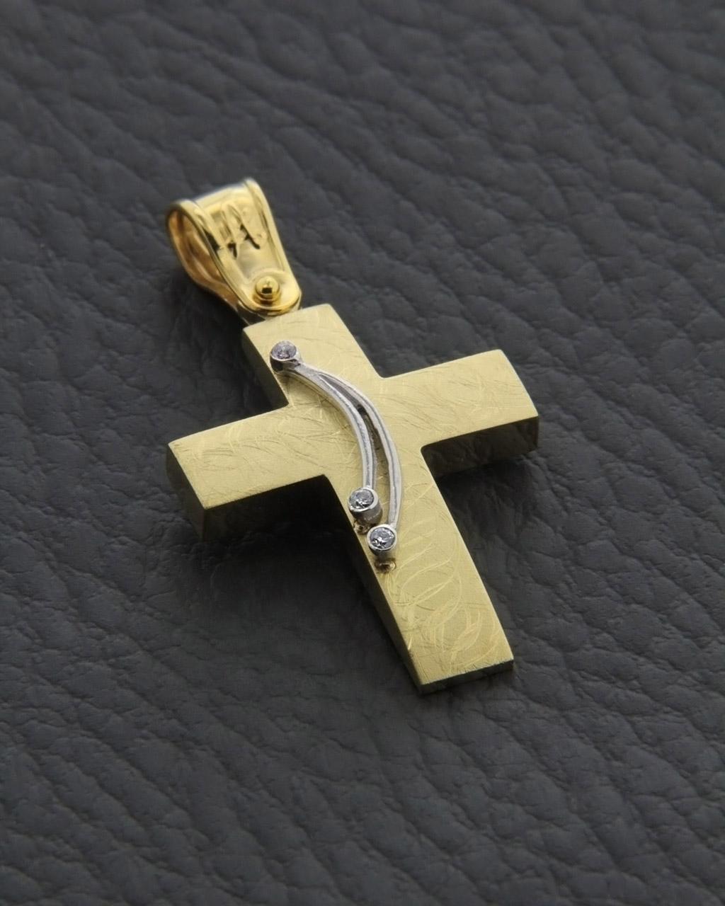 Σταυρός χρυσός & λευκόχρυσος Κ14 με Ζιργκόν   γυναικα σταυροί σταυροί χρυσοί
