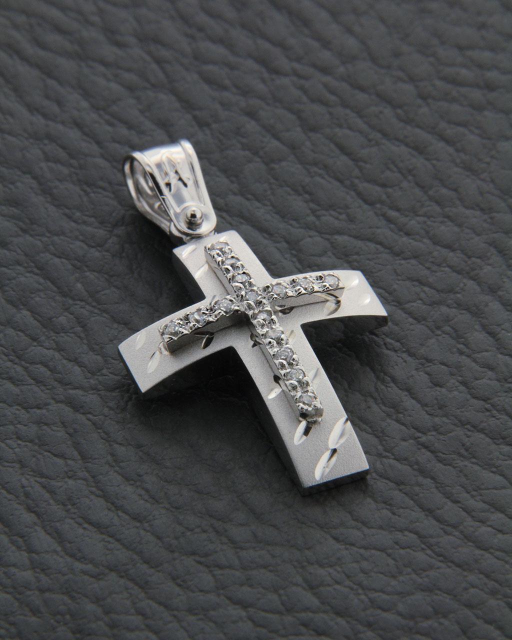 Σταυρός λευκόχρυσος Κ14 με Ζιργκόν   παιδι βαπτιστικοί σταυροί βαπτιστικοί σταυροί για κορίτσι