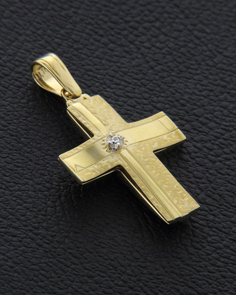 Σταυρός βαπτιστικός χρυσός & λευκόχρυσος Κ14 με Ζιργκόν δύο όψεω   κοσμηματα σταυροί σταυροί λευκόχρυσοι